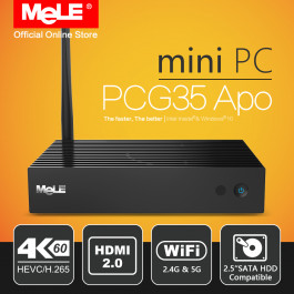 Bezwentylatorowy Mini PC MeLE PCG35 APO Windows 10 4/32 GB Intel Apollo Lake Celeron J3455 4K HDMI VGA WiFi USB SSD