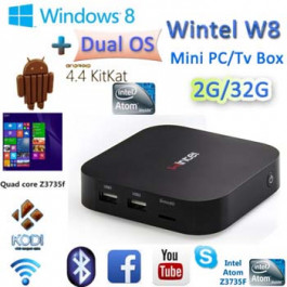 TV Box Inteligentne Mini PC CX-W8 Wintel Atom Z3735F systemu Windows 8.1 i Android 4.4 Podwójny OS 2GB / 32GB