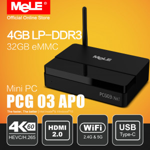 Mini PC MeLE PCG03 Apo Windows 10 Bez Wentylatora 4/32GB Intel Apollo Lake Celeron N3450 4K HDMI VGA USB 3.0 SSD LAN WiFi