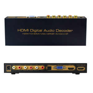 HDMI Digital Audio Decoder HDMI na HDMI + VGA + SPDIF + 5,1 Converter