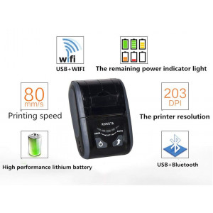 Przenośna mini drukarka POS termiczna paragonów RPP200 57mm WiFi, Bluetooth