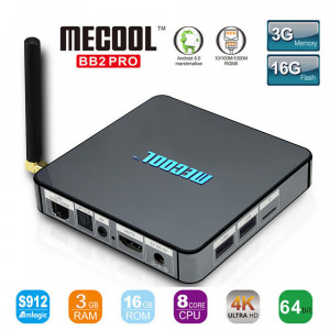 Smart TV Box BB2 PRO Android 6.0 Amlogic S912 DDR4 3GB / 16G KODI 17,0 VP9 Dual Band WiFi 1000M LAN H.265 3G 4K UHD