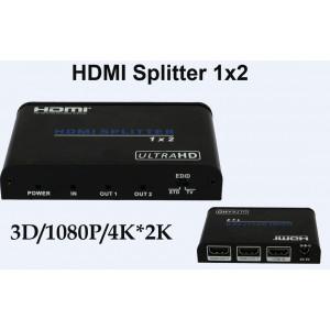 Rozdzielacz/Splitter 1x2 HDMI wideo UHD 4K*2K 3D Audio HDCP HDV-A12